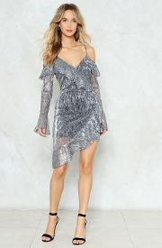 Total Eclipse Of The Heart Metallic Wrap Dress