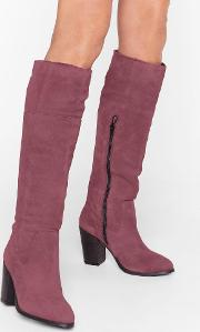 We Finally Suede It Knee High Heeled Boots