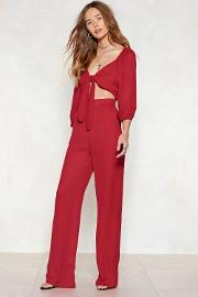 We Know Your Game Tie Front Jumpsuit