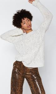 You Started Knit Cable Sweater