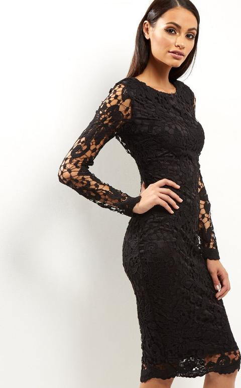 Black Crochet Lace Midi Dress