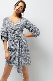 Black Gingham Ruched Sleeve Wrap Dress
