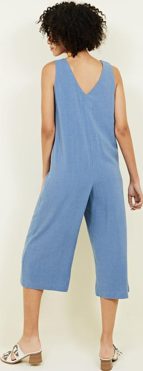 Blue Linen Look Button Front Cropped Jumpsuit