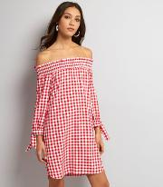Red Gingham Check Shirred Bardot Neck Dress