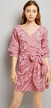 Red Gingham Ruched Sleeve Wrap Dress