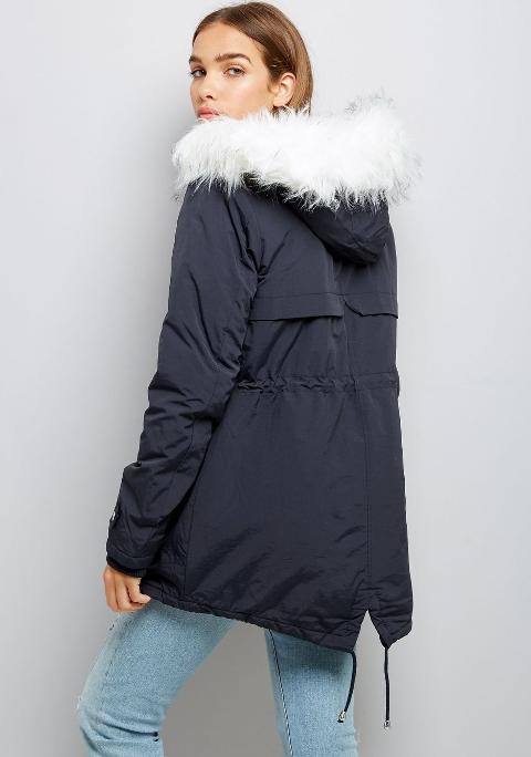 new look Tall Navy Faux Fur Trim Hooded Parka New Look | Obsessory