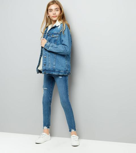 32c1f17226a new look Teens Blue Borg Lined Ripped Denim Jacket New Look