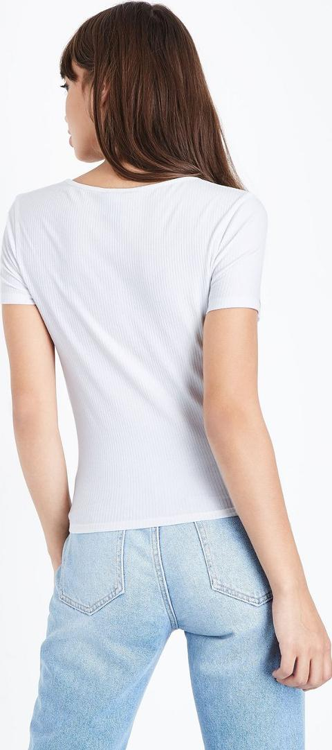 New look White Button Front Ribbed T Shirt | Obsessory
