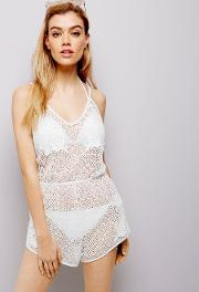 White Sheer Crochet Lace Playsuit