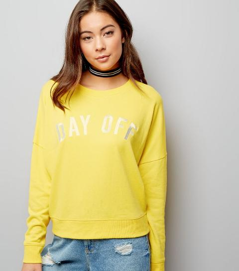 Yellow Day Off Embroidered Sweater