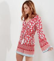 White Wrap Front Flared Sleeve Playsuit