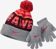 Attitude Two Piece Younger Kids'beanie& Gloves Set Grey