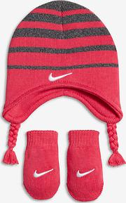 Stripe Baby& Toddler Knit Hat And Mittens Set Pink