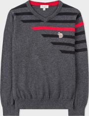 Boys' 8 Years Charcoal Grey 'zebra' Cotton Cashmere Sweater