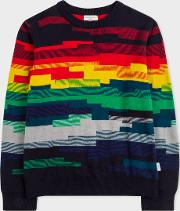 Boys' 8 Years Multi Coloured Geometric Stripe Cotton Blend Sweater