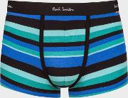 Men's Black, Blue And Green Stripe Low Rise Boxer Briefs