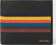 Men's Black Grained Leather Billfold Wallet With 'bright Stripe' Embroidery