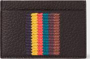 Men's Black Grained Leather Card Holder With 'bright Stripe' Embroidery