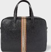 Men's Black Leather Signature Stripe Weekend Bag