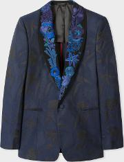 Men's Black Shawl Collar Tuxedo Jacket With 'ocean' Embroidery