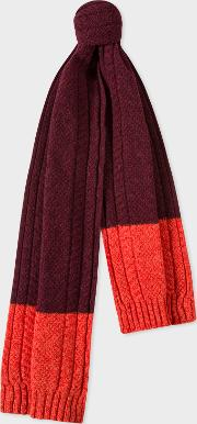Men's Burgundy Cable Knit Scarf With Contrasting Ends