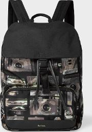 Men's Camouflage 'paul's Camera' Print Flap Backpack