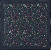 Men's Navy 'explorer Floral' Print Cotton Pocket Square