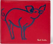 Men's Red 'year Of The Pig' Billfold Leather Wallet