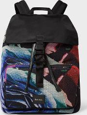 Men's 'rose Collage' Print Mesh Flap Backpack