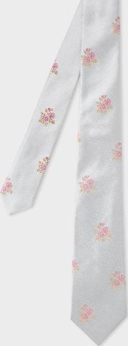 Men's Silver Embroidered Floral Narrow Silk Tie