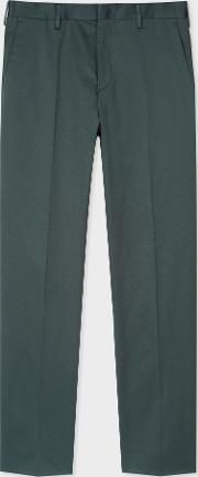 Men's Slim Fit Bottle Green Stretch Cotton Chinos