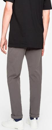 Men's Tapered Fit Grey Garment Dyed Pima Cotton Stretch Chinos