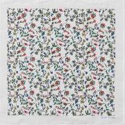 Men's White 'explorer Floral' Print Cotton Pocket Square