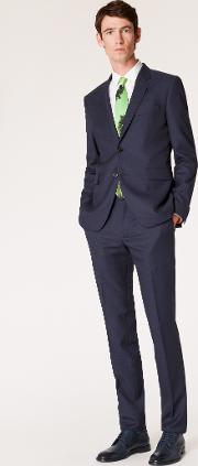 The Kensington Men's Slim Fit Dark Navy Pin Dot Wool Suit