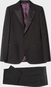 The Soho Men's Tailored Fit Black Wool Mohair Evening Suit