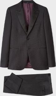 The Soho Men's Tailored Fit Dark Grey Waffle Wool Evening Suit