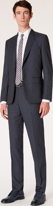 The Soho Men's Tailored Fit Dark Navy Birdseye Wool Suit