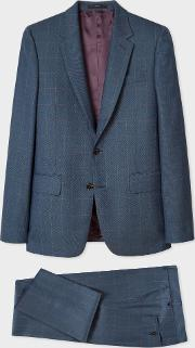 The Soho Men's Tailored Fit Dark Teal Windowpane Check Wool Suit