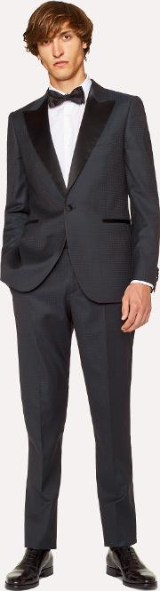 The Soho Men's Tailored Fit Navy Houndstooth Evening Suit