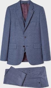 The Soho Men's Tailored Fit Slate Blue Check Three Piece Suit