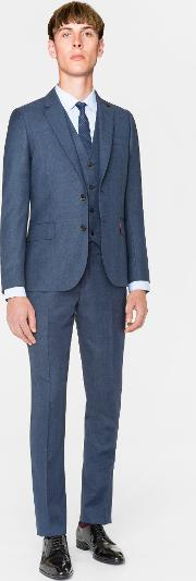 The Soho Men's Tailored Fit Slate Blue Three Piece Wool Suit
