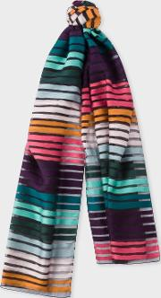 Women's 'artist Stripe' Sheer Silk Blend Scarf