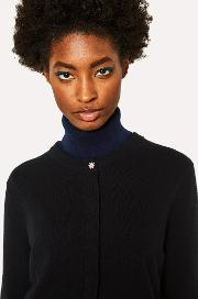 Women's Black Cashmere Cardigan With Daisy Top Button