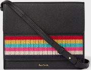 Women's Black Leather Cross Body Bag With Multi Coloured Stripe Embroidered Detail