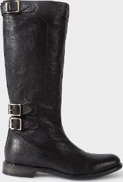 Women's Black Leather 'kings' Boots