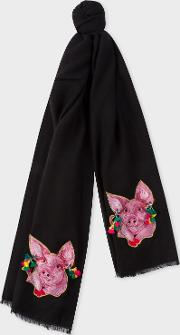 Women's Black 'year Of The Pig' Embroidered Wool Scarf