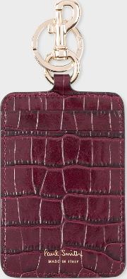 Women's Burgundy Mock Croc Clip Card Holder