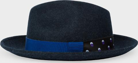 ed57ceb4a9e04 paul smith Women s Dark Navy Fedora Hat With  eclipse Spot  Headband ...