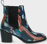 Women's Multi Colour Snake Effect Leather 'shelby' Boots