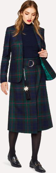 Women's Navy, Green And Red Tartan A Line Midi Skirt With Belt